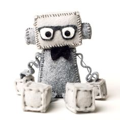 Geeky Felt Robot Plush with Nerdy Glasses and Bowtie in Black, Hipster Robot by GinnyPenny on Etsy