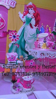Decoración Princesa Sirenita, Ariel, torta, Bella durmiente
