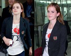 Emma Watson + graphic shirt + blazer