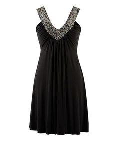 Look at this #zulilyfind! Black Beaded Yoke Neck Sleeveless Dress - Women #zulilyfinds