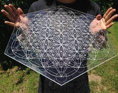 Metatron's Cube Flower of Life Pattern Laser Cut Crystal Grid Artwork