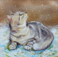 Winter, cat and snow in fine art. Paintings with winter cat. I Love Cats, Cute Cats, Winter Cat, Image Chat, Images Vintage, Gatos Cats, Watercolor Cat, Here Kitty Kitty, Cat Drawing