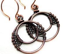 Woven Earrings, Wire Wrapped Copper, Handcrafted Jewelry, Antiqued Copper, Double Hoop