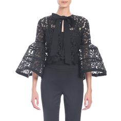Carolina Herrera Bell-Sleeve Lace Jacket with Bow featuring polyvore women's fashion clothing outerwear jackets black 3/4 sleeve jacket lace jacket fleece-lined jackets flower print jacket bow jacket