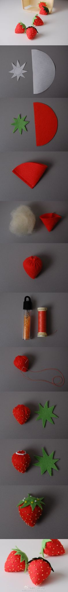 DIY strawberries using felt with seed beads. NO instructions