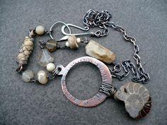 MYTHOLOGY  copper  ammonite sari silk jasper by livewirejewelrysb, $79.00