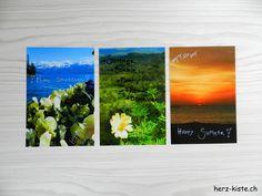 Postkarten selbstgemacht mit Sommergrüssen