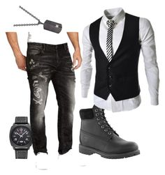 """""""Men Prep Too"""" by daddyskittkatt ❤ liked on Polyvore featuring Timberland, Rhona Sutton, William Rast, men's fashion and menswear"""