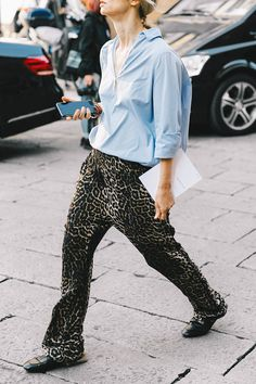 Street Style : lounge dressing with this mens shirt and animal print combo || Saved by Gabby Fincham ||