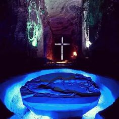 """Zipaquirá is the """"Salt Cathedral"""" outside Bogota, Colombia. You have to walk underground to reach this chamber. - Colombia, Republic of Colombia, is a country situated in the northwest of South America - Places Around The World, Oh The Places You'll Go, Travel Around The World, Places To Travel, Places To Visit, Around The Worlds, Colombia South America, Ecuador, Colombia Travel"""