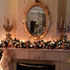 #christmas#fireplace#gold#mirror#classy