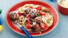 These healthy Italian meatballs with cherry tomato sauce are sure to keep the kids smiling. They don't have to know about the hidden vegies (wink wink). LC, E, HF Healthy Pasta Dishes, Easy Pasta Recipes, Healthy Pastas, Healthy Recipes, Healthy Dinners, Delicious Meals, Yummy Food, Cherry Tomato Sauce, Tomato Sauce Recipe
