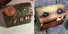 Baggage items are troublesome enough without teeth. Yet Mellie Z out of Fine Line Leather Design makes these adorably scary mimic monster boxes!