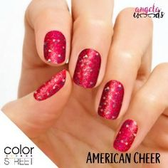 Three cheers for the red, white, and blue! Color Street American Cheer features white and blue glitter on shimmering red. Glitter finish. Each set includes 16 double-ended nail polish strips. 100% nail polish strips, easy to apply with no heat or tools.