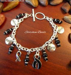Black Ribbon Awareness Bracelet by StarshineBeads on Etsy