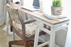 diy barstool desk, diy, furniture furniture revivals, repurposing upcycling, This desk was really simple simply laying the boards across the barstools and screwing them into the stools
