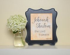 Printable Jehovah Shalom Names of God, Bible verse art, Bible verse printable