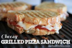 Cheesy Grilled Pizza Sandwich on Garlic Bread from Our Best Bites