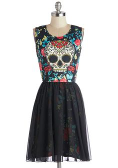 Skeleton Crew Dress. You totally rock the launch party in this edgy dress by NewBreed Girl. #black #modcloth