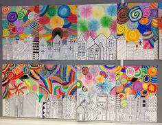 Uudenvuoden kaupunkimaisema öljypastelliliiduin. Color Activities, Activities For Kids, Crafts For Kids, Friendship Crafts, Kids Sprinkler, Gunpowder Plot, Art Lessons For Kids, Mothers Day Crafts, Art Plastique