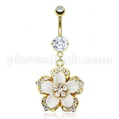 Gold sliver flower belly ring