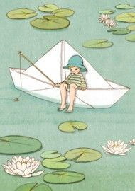 "Belle and Boo ""My Paper Boat"" Card - A Stationery and Craft Emporium - le petit paperie Art And Illustration, Belle Y Boo, Vintage Children, Cute Art, Artwork, Sketches, Cartoon, Drawings, Postcard Paper"