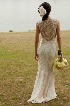 Lace back wedding dress outdoors