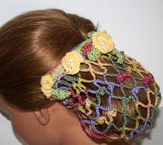 SNOOD Retro snoodChignon Flower Garden HAIR Net by Ablast2thepast, $25.00