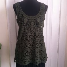 Beautiful Handcrafted Crochet Tunic The is a very nice handcrafted Artisan cotton crochet tunic to wear with skirts or shorts. Can wear as swimsuit cover too. Green. Excellent condition never worn. New No Tags. Urban Outfitters Tops Tunics