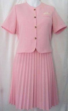 a97fd56fd6 Like New 1970's Vintage Womens PABLO COLLECTION Pink Polyester 2 Pc Dress  Pleated Skirt &