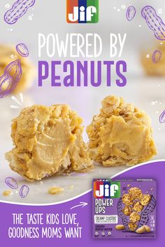 Jif® Power Ups® Creamy Clusters® deliver on the taste and the goods. They're the perfect snack for kids any time of day. Tap the Pin for more. Ww Recipes, Snack Recipes, Dessert Recipes, Cooking Recipes, Snacks, Yummy Treats, Sweet Treats, Yummy Food, Caramel Apple Cookies