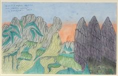 Joseph Yoakum. Mc Hunt In Big Horn Mtn. Range Near Sheridan Wyoming. 1967. Signed, dated and titled. Pastel, colored pencil and ink on paper.