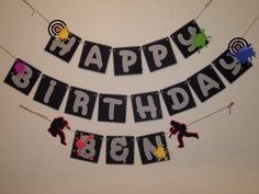 Happy Birthday Banner, paintball themed birthday banner, boys Bday theme, kids themed party