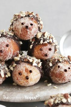 Vegan Nutella hedgehog doughnut hole recipe Vegan Cake vegan cake in stores Donut Recipes, Vegan Recipes, Vegan Donut Recipe, Nutella Recipes, Cooking Recipes, Hedgehog Cake, Hedgehog Cookies, Hedgehog Recipe, Dairy Free Dark Chocolate