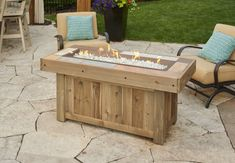The Vintage Linear Gas Fire Pit Table feature a stunning Honey Glow Brown burner set inside a distressed wood-look tile top. The base is a distressed cedar that will continue to age and wear as time goes on.
