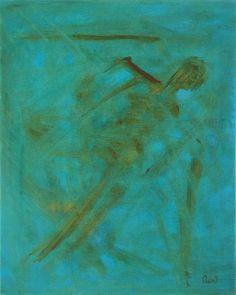 """The Fall"". Oil on canvas.  ClaudiaCaseriArt on Etsy. #oil paintings #blue #home decoration #death #sleep #art"