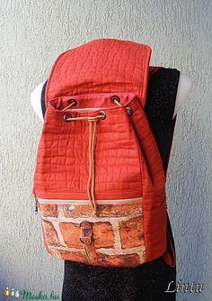 Textil hátizsák tégla mintázatú anyagból (Lintu) - Meska.hu Lany, Fashion Backpack, Backpacks, Backpack, Backpacker, Backpacking