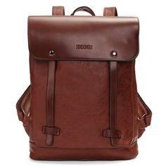 Damen Herren Jahrgang Satchel Rucksack PU-Leder-Laptop-Taschen Rucksack Schultasche - NewChic Mobile.