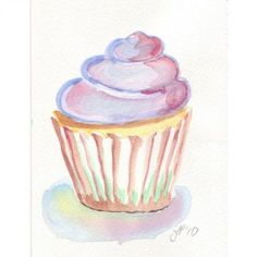 Image result for watercolor cupcake