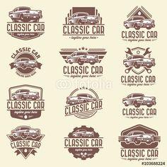 Vector: Vector car logo set, classic car logo template