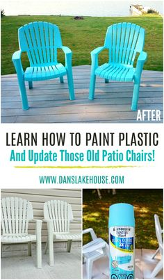 How to Spray Paint Plastic Lawn Chairs. Learn How to Paint Plastic and Update Those Old Plastic Patio Chairs for Cheap! lawn chairs How to Spray Paint Plastic Lawn Chairs Outdoor Plastic Chairs, Plastic Garden Chairs, Plastic Garden Furniture, Painted Outdoor Furniture, Resin Patio Furniture, Lawn Furniture, Furniture Layout, Steel Furniture, Antique Furniture