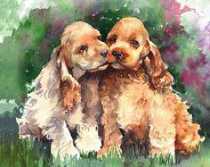 Cocker Spaniel Dogs watercolor print, artist not identified