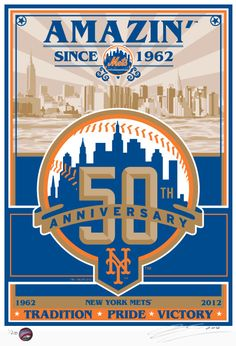 New York Mets 50th Anniversary Baseball Screen Print.
