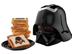 Darth Vader Toaster. If you make it to the BigBadToyStore website, it tells you the toast was produced by a professional.