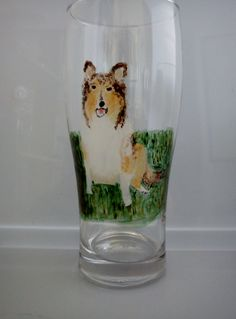 Hand Painted Pint Glass of Collie Dog £21.00