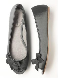 Peep toe satin ballet flats with pretty grosgrain ribbon bow.