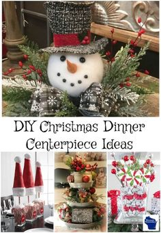DIY Christmas Centerpieces Ideas Create an absolutely stunning table this holiday with these elegant but DIY Christmas dinner centerpiece ideas. Christmas Dinner Centerpieces, Outside Christmas Decorations, Centerpiece Decorations, Holiday Crafts, Holiday Decor, Dollar Store Christmas, Simple Christmas, Christmas Christmas, Jamberry Christmas