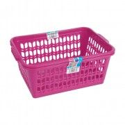 set of 2 large pink handy baskets for general use around the house, such anything from envelopes to stationary, fits great into a girls bedroom.