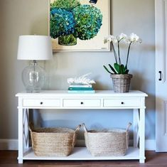 Oak console table - 3 drawers home decor entryway console ta Console Table Styling, White Console Table, Entryway Console Table, Entryway Decor, Console Tables, White Entry Table, Hall Tables, Table Lamps, Side Tables