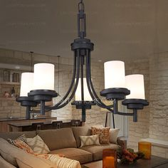 Reviews: 5-Light Black Wrought Iron Chandeliers Cylinder Glass Shade